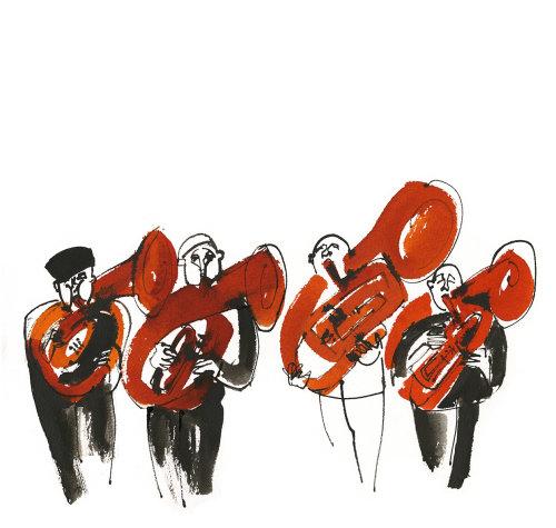Ilustração de jogadores de trompa francesa de Alyana Cazalet