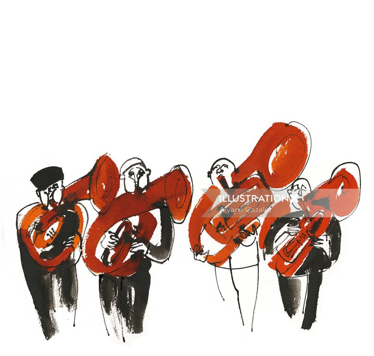 French horn players illustration by Alyana Cazalet
