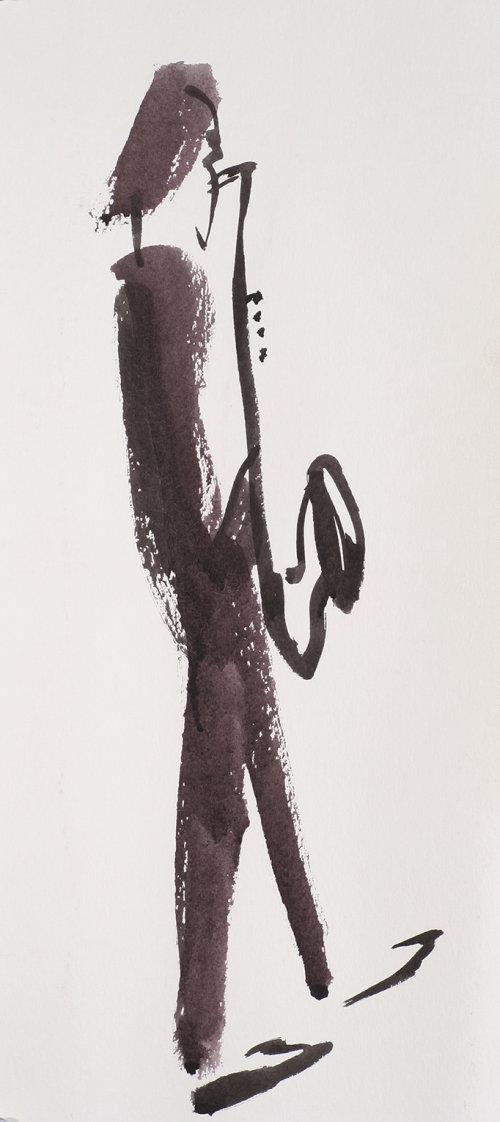 Sax player illustration by Alyana Cazalet