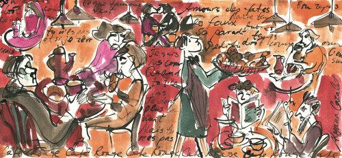 Scène de petit-déjeuner dans un café français - Une illustration par Alyana Cazalet
