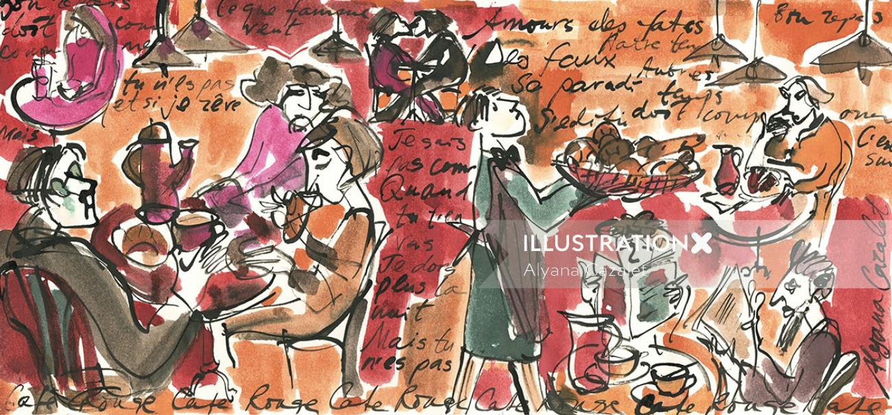 Breakfast scene in french cafe - An illustration by Alyana Cazalet
