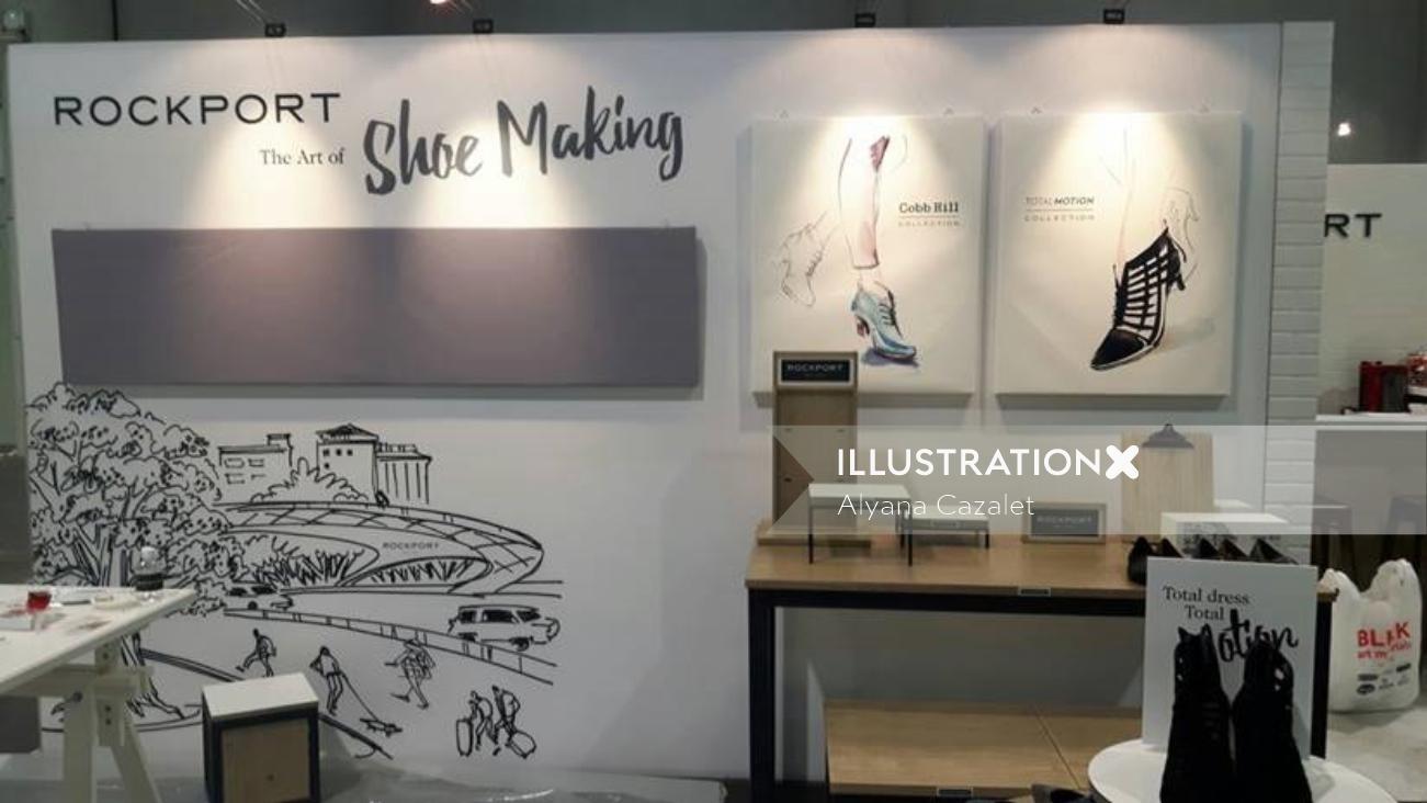 Mural Illustration For Rockport Shoe Making