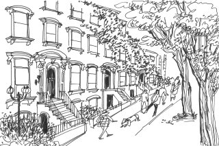 Black and white ink drawing of street scene