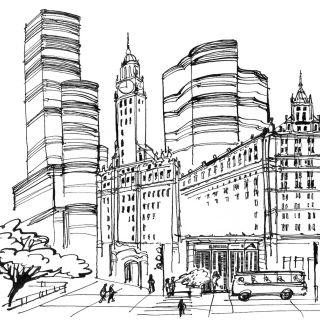 City scene pencil artwork