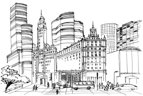 City scene pencil artwork