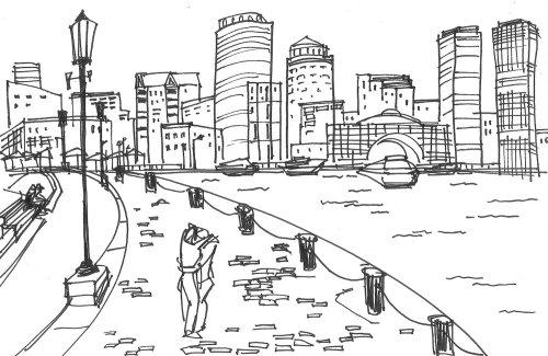Desenho da cena da cidade para sapatos de Rockport