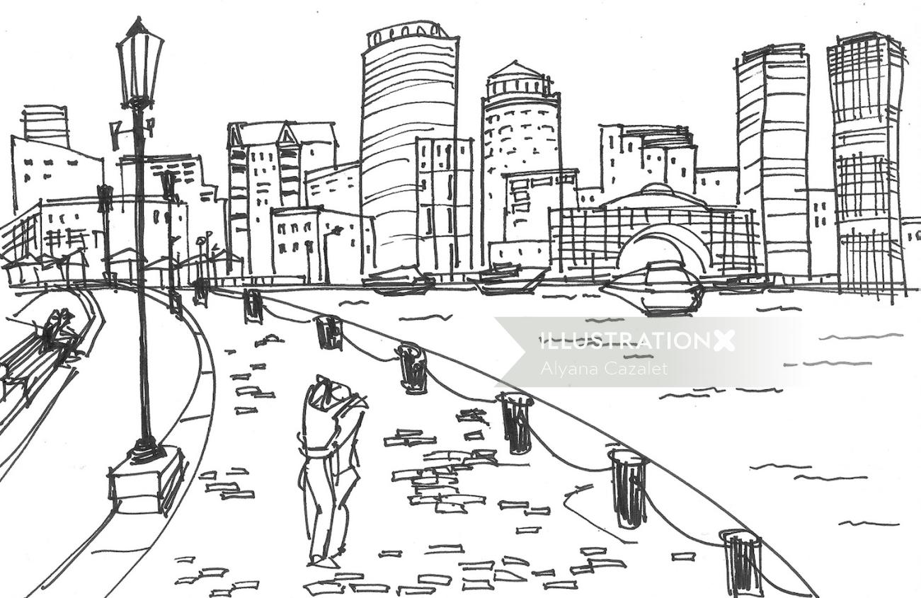 City Scene Drawing For Rockport Shoes