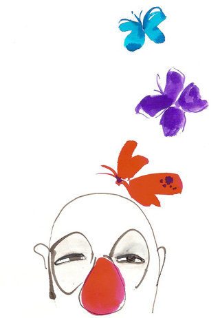 Cartoon clown with butterfly