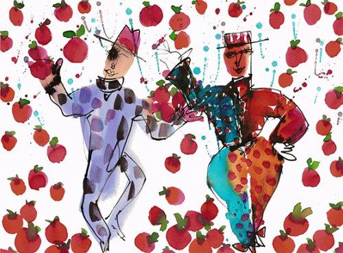 Illustration de clowns dansants