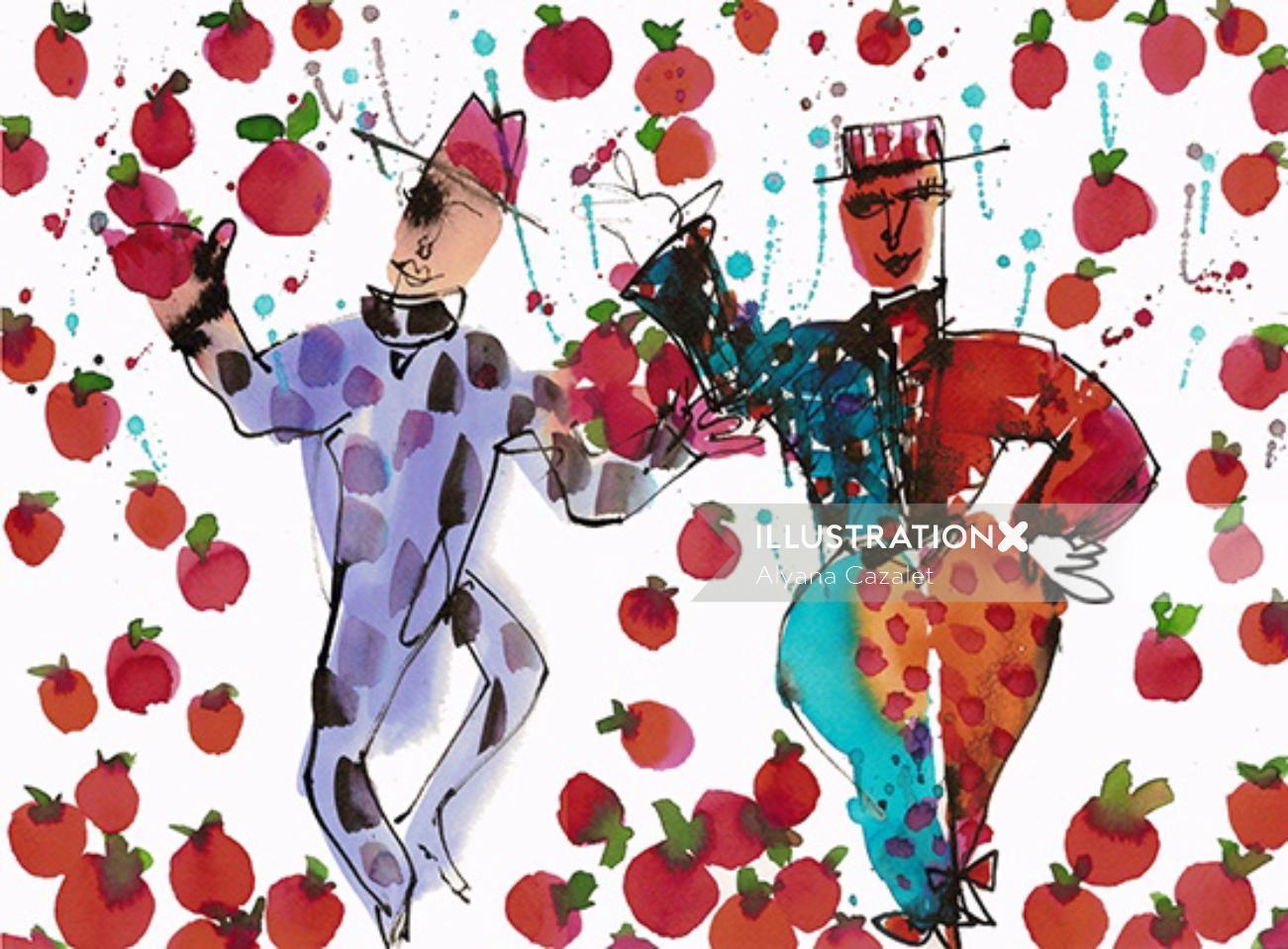 Illustration of Dancing clowns
