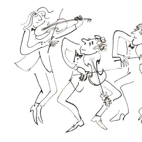 Characters playing violin