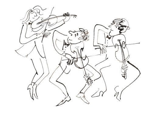 Characters playing violin