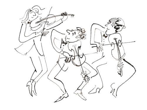 Personagens tocando violino