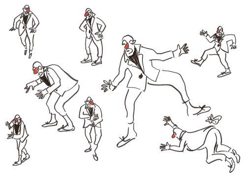 Dessin au trait de clowns