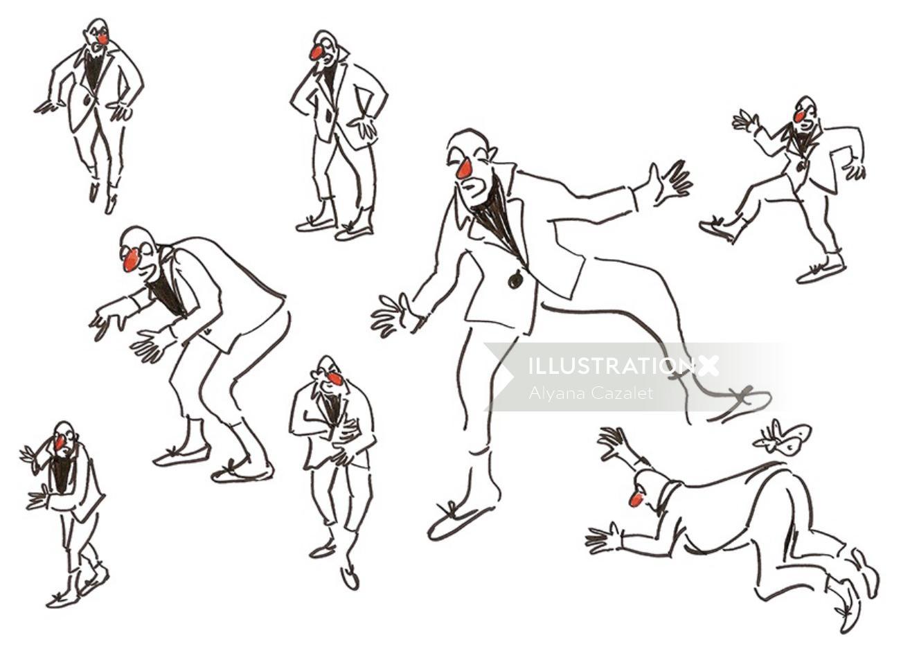 Line art of clowns