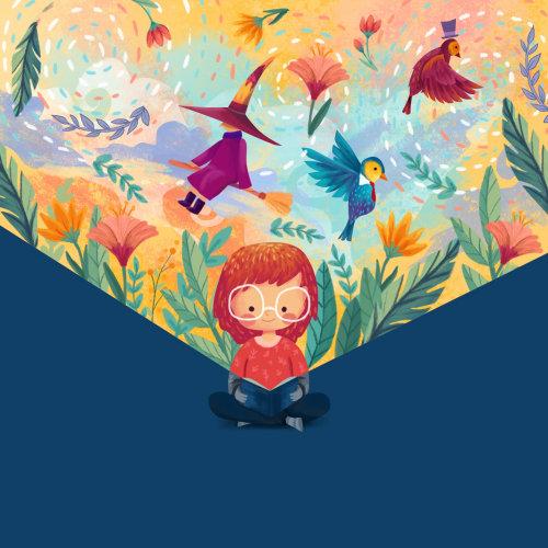 Arte digital de uma menina lendo o livro de aventura