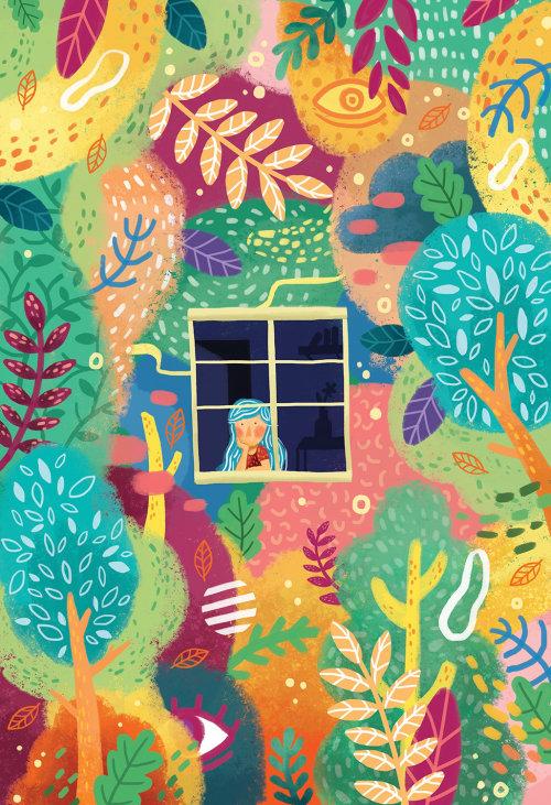 Ilustração de livro infantil de menina olhando pela janela