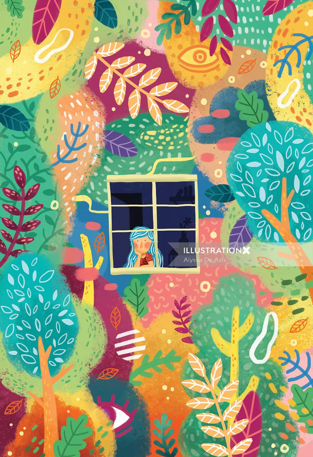Children's book illustration of little girl looking out the window