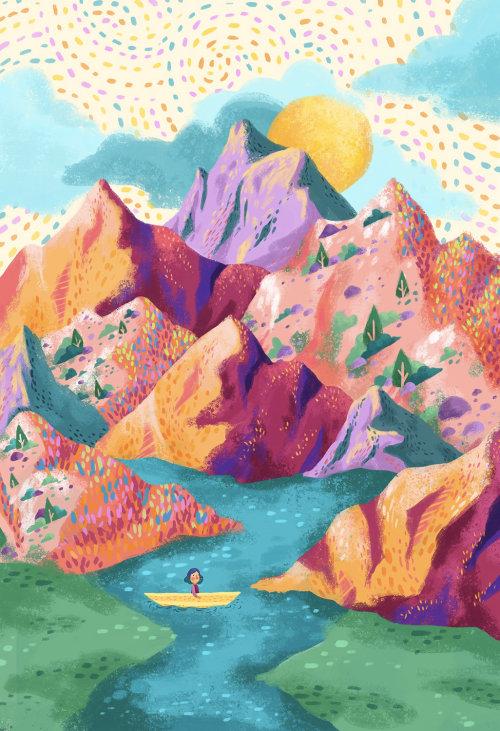 Ilustração de crianças da senhora passeios de barco sobre montanhas