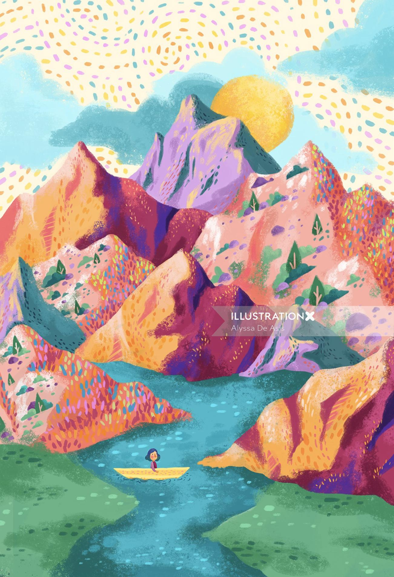 Children illustration of lady boating over mountains