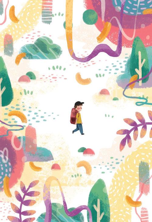Garçon de la nature marchant