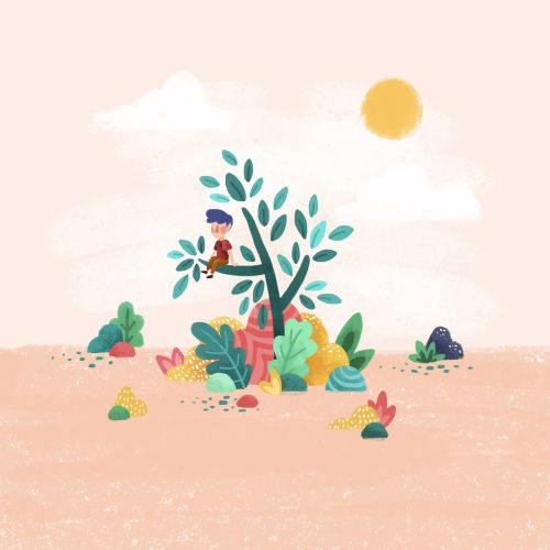 Child sitting on tree branch illustration