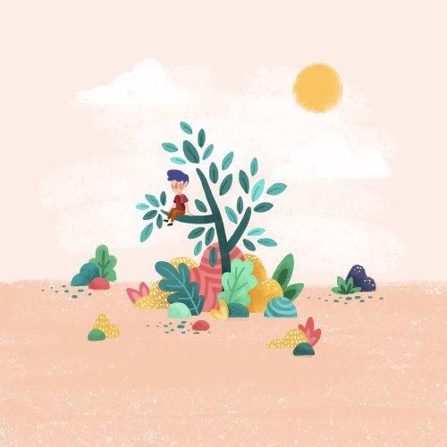 Enfant, séance, arbre, branche, Illustration