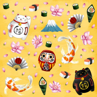 Japanese icons digital painting