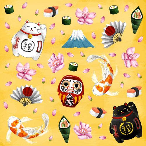 Icônes japonaises peinture numérique