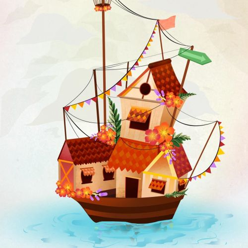 Boat house comic illustration