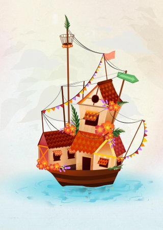Boat house comic illustration