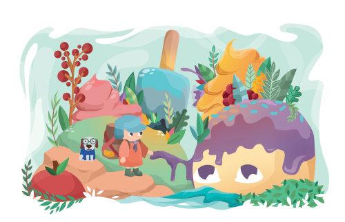 Children's book illustration of girl entered in ice cream world