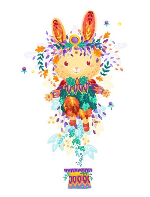 Animação GIF de urso com flores