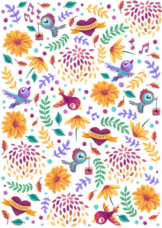 Love birds pattern illustration