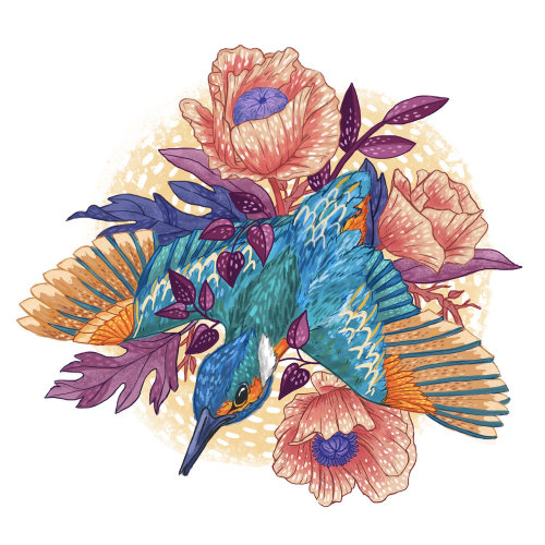Pintura de um pássaro voando em flores