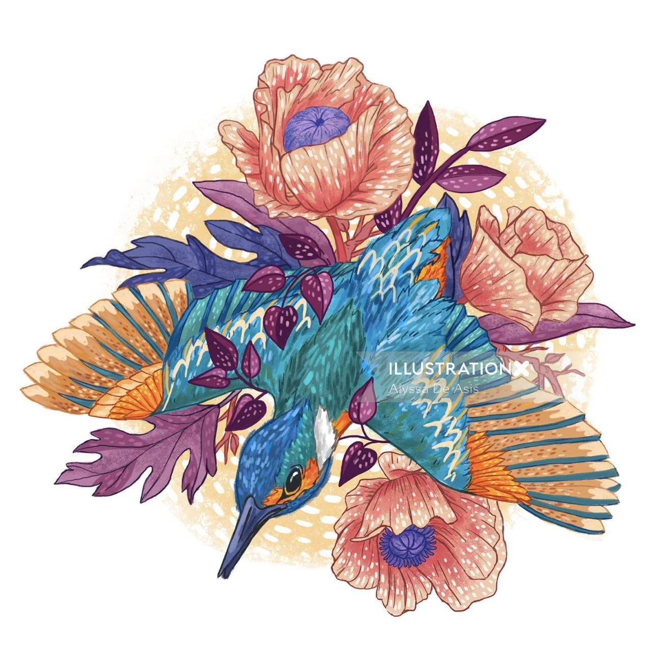 Painting of a bird flying on flowers