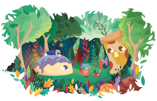 Ilustração em quadrinhos de menina e cachorro na floresta