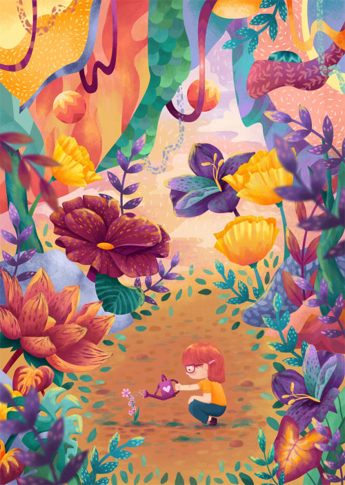 Ilustração de livro infantil da planta molhando criança