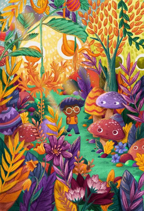 Ilustração da natureza do menino andando na floresta