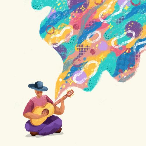Éditorial homme jouant de la guitare