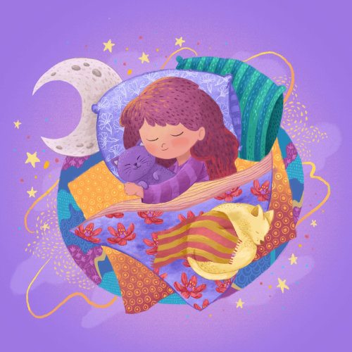 Children  girl sleeping with cat dreaming