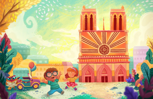 Enfants heureux, profitant du soleil - illustration enfants