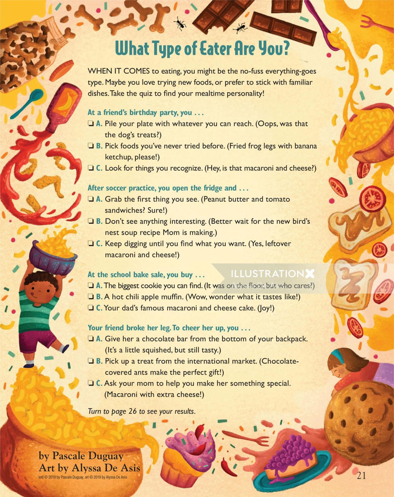decorative illustration of eating habits quiz