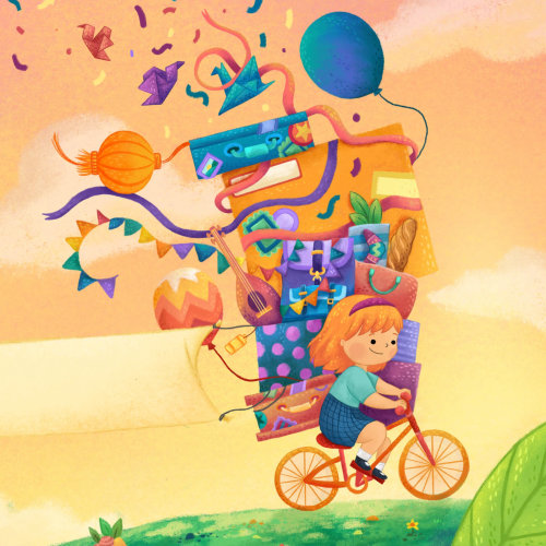 Children bookcovers girl on bicycle