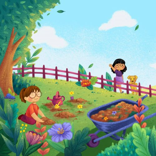 Vegetables farm nature illustration