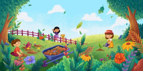 Vegetables farm nature illustration