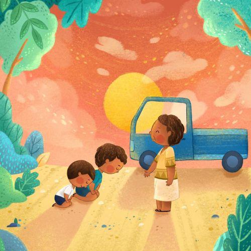 Children kneeling on the road