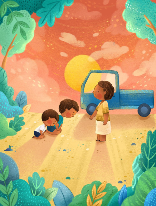 Enfants agenouillés sur la route