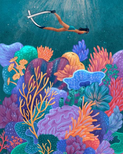 Scuba diving nature illustration