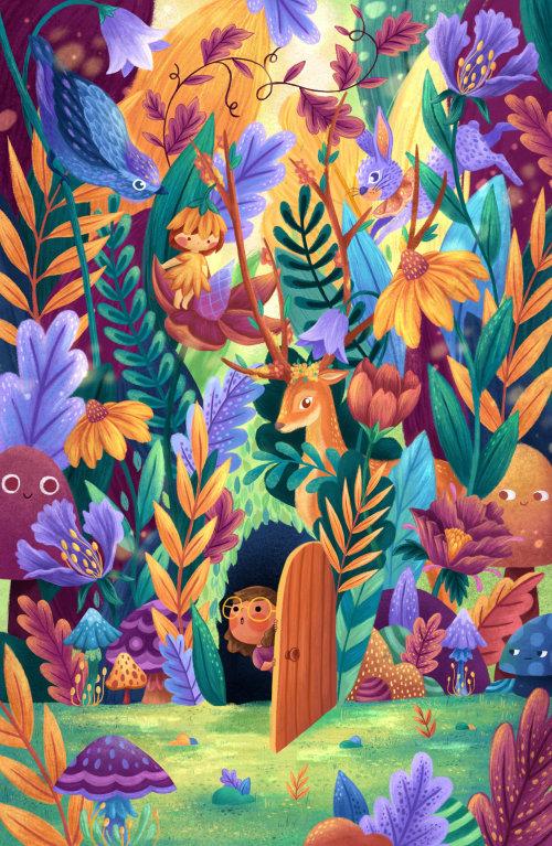 Ilustração da natureza da casa da floresta